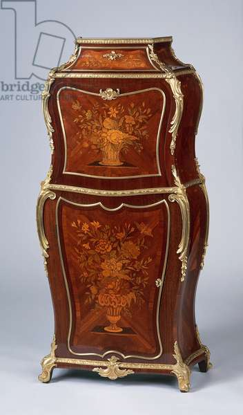 Louis XV style Second Empire (Napoleon III) violin-shaped ladies secretary with satinwood and amaranth veneer finish, circa 1870, stamped by H Dasson, France, 19th century, detail