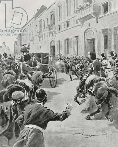 Italian anarchist Gennaro Rubino (1859-1918) attacking King Leopold II (1835-1909), Brussels, Belgium, November 15, 1902, drawing by Adriano Minardi after sketch by Servais Detilleux (1874-1940)