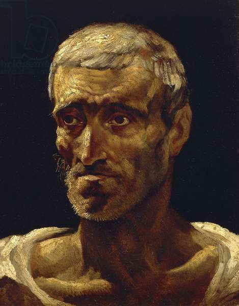 Head of shipwrecked man, 1819, by Jean-Louis Theodore Gericault (1791-1824), Preparatory Sketch for raft of Medusa