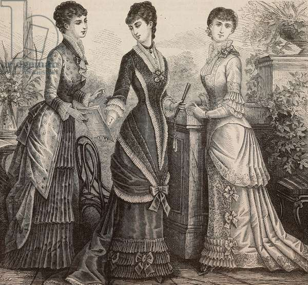 Women wearing faye and Pompadour silk dress, satin and brocade dress, faye dress, Madame Coussinet designs, engraving from La Mode Illustree, No 38, September 21, 1879
