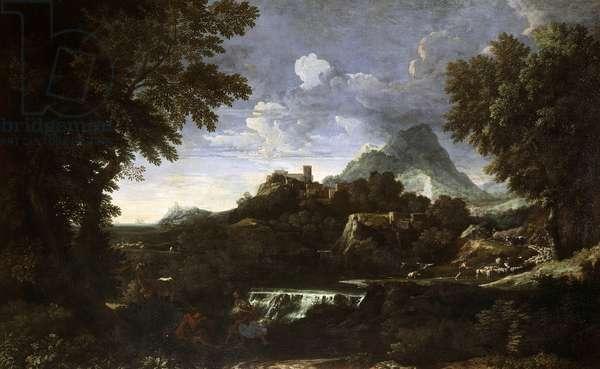Landscape with Rinaldo and Armida (Erminia and Tancredi), by Gaspard Dughet (1615-1675), oil on canvas, 139x225 cm.