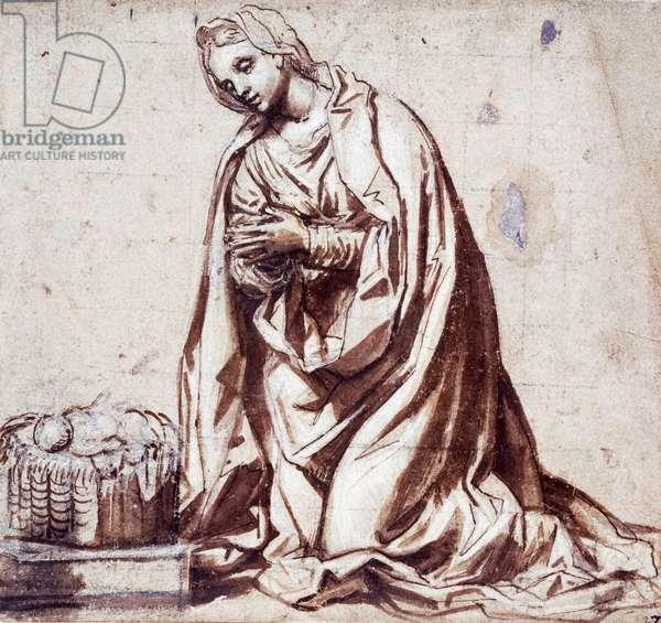 The Virgin adoring the Child, drawing by Alessandro Bonvicino known as Il Moretto da Brescia (1498-1554), Italy, 16th century