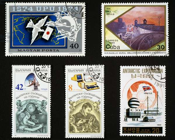 Postage stamps honoring communication, centenary of UPU, train station, repeater and teletype, Antarctic research station, Hungary, Cuba, Bulgaria, North Korea, 20th century