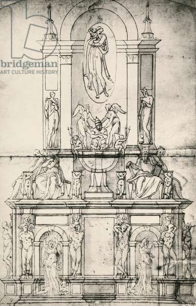 Project of tomb of Pope Julius II (1442-1513), by Michelangelo Buonarroti (1475-1564), 16th century