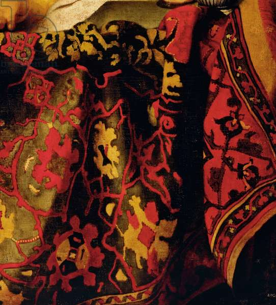 Embroidered dress, detail from The Procuress, 1656, by Jan Vermeer (1632-1675), oil on canvas, cm 143x130
