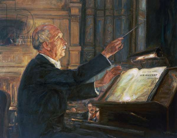 Composer and conductor Richard Strauss (1864-1949) conducting orchestra at Vienna Opera, painting.