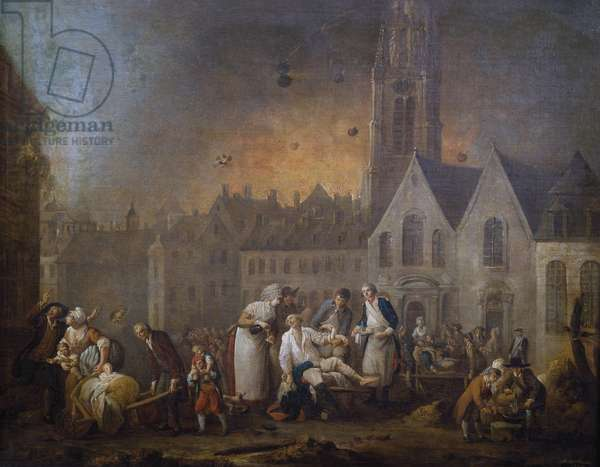 Wounded in Grand Square in Lille during Austrian Siege of 1792, painting by Louis Watteau, oil on canvas, 82x65 cm, France, 18th century