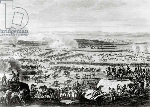 Battle of Austerlitz in Moravia, 1805, Napoleonic wars, lithography by Antoine Charles Horace Vernet (1758-1835)