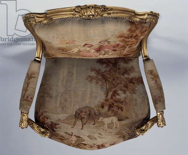 Louis XV-style gilt wood and Aubusson fabric armchair, ca 1880, Second Empire period (Napoleon III), copy, France, 19th century