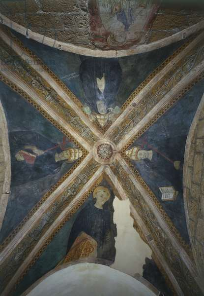 Figures of Popes, detail from frescoed vault of entry of Sacro Speco Monastery, Subiaco, Italy, 14th-15th century