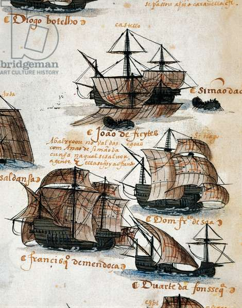 Portuguese caravels, illustration from Memory of Armadas that from Portugal passed to India, Ms 1551, 16th century