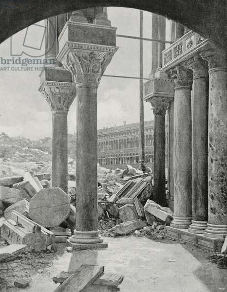Corner columns of St Mark's Basilica hit by collapse of St Mark's Campanile, Venice, Italy, photo by Eduardo Ximenes (1852-1932), from L'illustrazione Italiana, Year XXIX, No 29, July 20, 1902