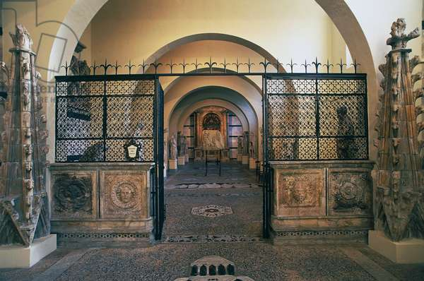 The entrance to the Museum of the Duomo, Siena cathedral, Siena, Tuscany, Italy