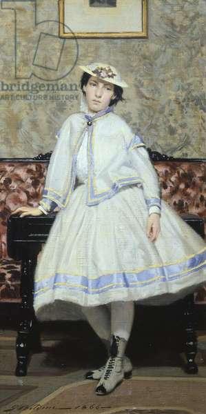 Alaide Banti in white by Giovanni Boldini (1842-1931), oil on canvas, 42x23 cm, 1866