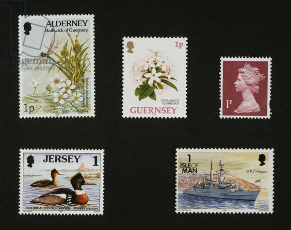 Aldernay island, 1994, Blue-tailed damselfly and aquatic plants, Plant from Madagascar, Isle of Guernsey, 1993, Queen Elizabeth II, 1979-1980, Red-breasted merganser, Isle of Jersey, 1997, Isle of Man, 1993, Type 21 frigate HMS Amazon, UK