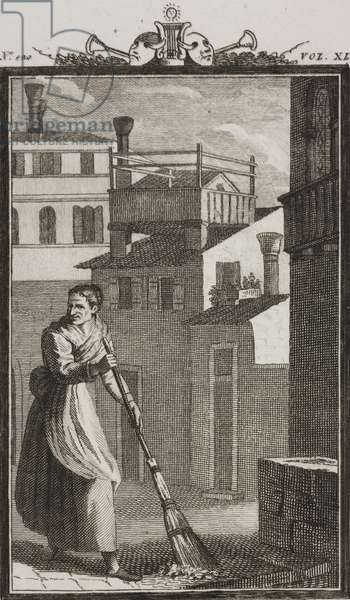 Pasqua Polegana sweeping outside her door, engraving by Antonio Viviani from drawing by G Steneri, from Little Square, Act II, Scene 1, Comedies, Volume 40, 1828, by Carlo Goldoni (1707-1793)