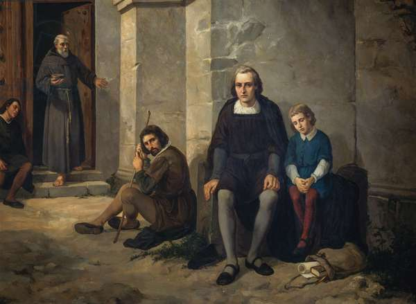 Christopher Columbus with his son in monastery of Santa Maria de La Rabida, Spain, 1891, painting by Leandro Izaguirre (1867-1941), oil on canvas, 150x200 cm