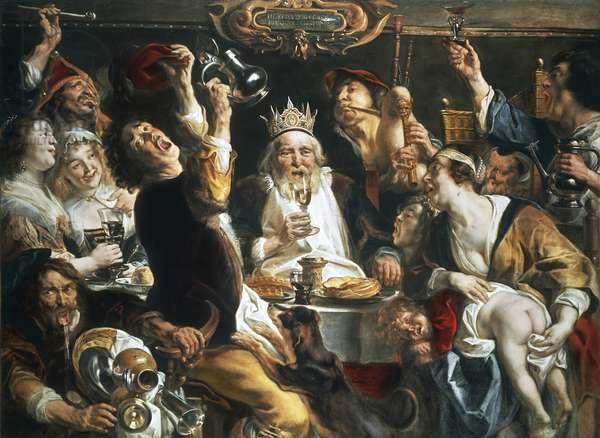King drinks, 1640, by Jacob Jordaens (1593-1678), oil on canvas, 156x210 cm