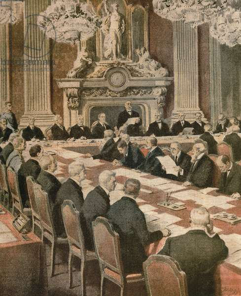French President Georges Clemenceau speaking at Paris Peace Conference, by Achille Beltrame, illustration, Illustrator Achille Beltrame (1871-1945), from La Domenica del Corriere, 1919