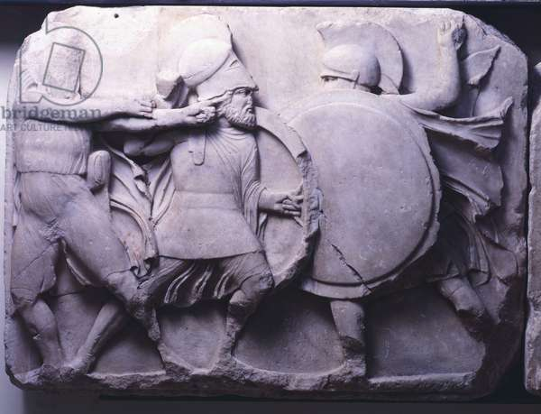 Monument of Nereids, burial construction from Xanthus, Greece, detail of bas-relief depicting battle scene,5th Century BC, Ancient Greece