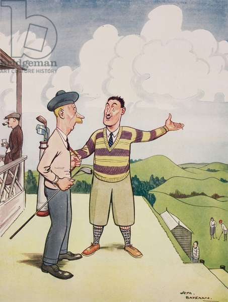 """Business-like, The Scottish golfer """"""""The hell with the scenery, Where's the first tee?"""""""", cartoon by Henry Mayo Bateman (1887-1970) from The Tatler, No 1347, April 20, 1927, London"""
