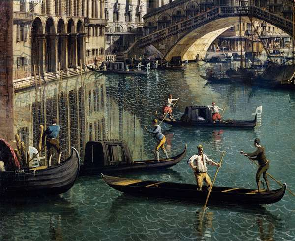 The Rialto Bridge in Venice, detail (oil on canvas)
