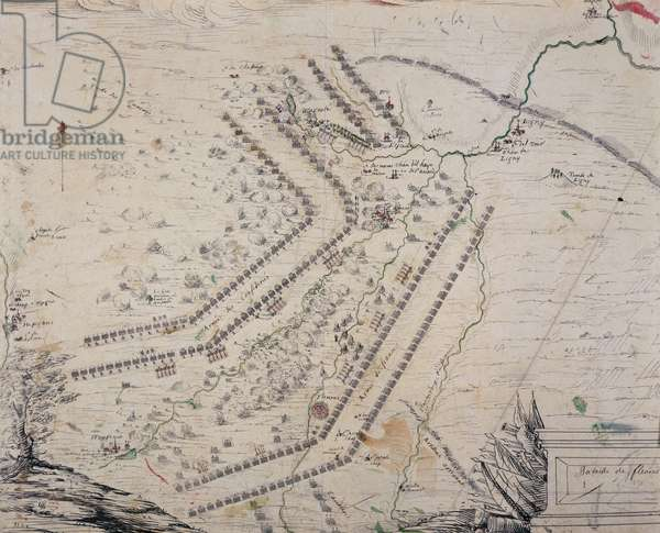 Plan of Battle of Fleurus, July 1, 1690, engraving, France, 17th century
