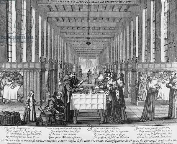 Infirmary of the Hospital of Charity in Paris, engraving by Abraham Bosse (1602-1676)