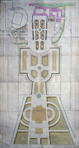 Map of park and Doge's Palace in Colorno, Italy, 18th century drawing