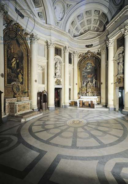 Interior of Church of St Charles at Four Fountains, in centre main altar, architect Francesco Borromini (1599-1667), Rome, Italy, 17th century