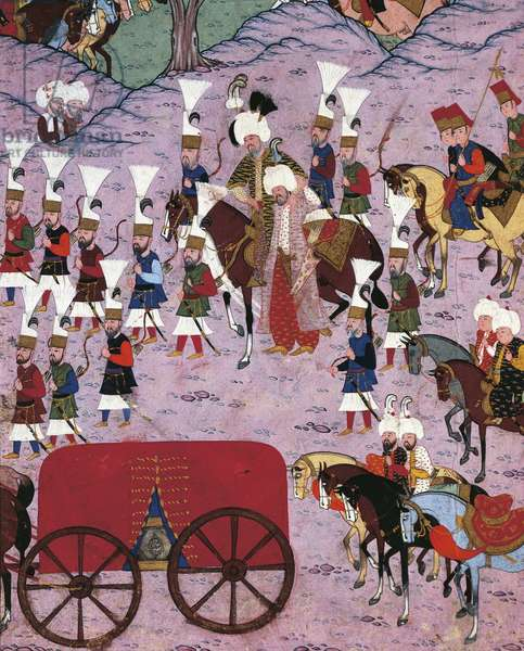 Suleiman the Magnificent and his army, 1566, Ottoman miniature, Turkey 16th Century.