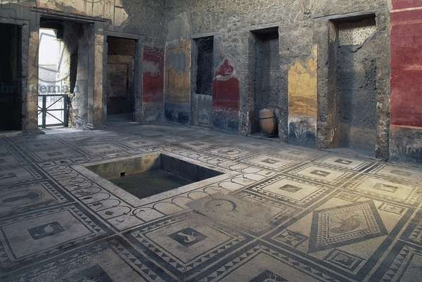 Impluvium, House of Gaius Cuspius Pansa also known as Paquius Proculus, Pompeii (Unesco World Heritage List, 1997), Campania, Italy. Roman civilization, 1st century BC