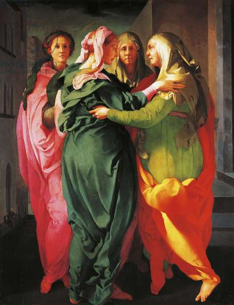 The visitation, circa 1530, by Giacomo Carucci known as Pontormo (1494-1556), Parish of St Michael, Carmignano