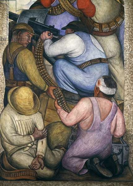 In the trenches, by Diego Rivera (1886-1957), detail from the Ministry of Education frescoes (1923-1928), Mexico City. Mexico, 20th century.