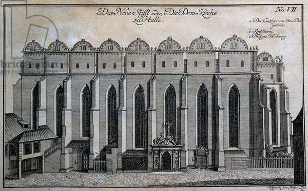 Halle cathedral, engraving, Germany, 18th century