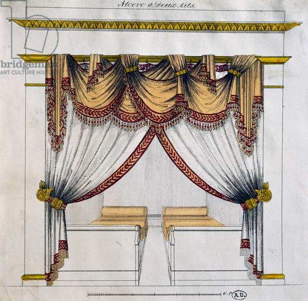 Design of alcove with two beds (First Empire period), illustration, France, 19th century