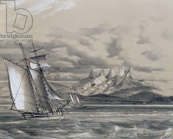 Journey of Christopher Columbus, the coast sighted from caravel, engraving