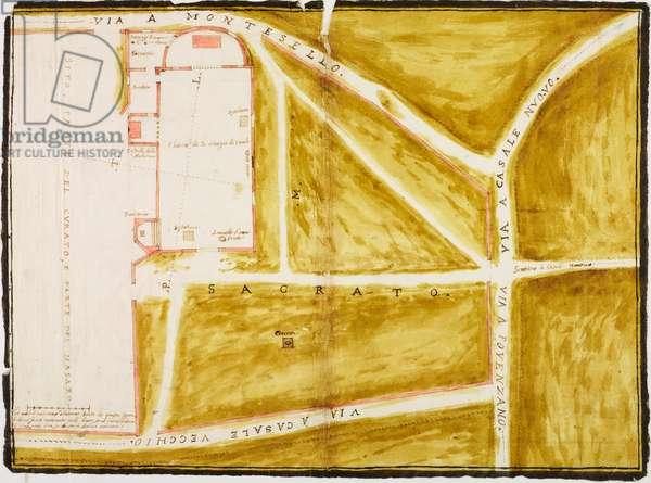 Plan of church of Saint George, Casatenovo, parish of Missaglia, 1611, designed by Aragone Aragonio on occasion of pastoral visit of Cardinal Federico Borromeo, tempera ink drawing, Italy, 17th century