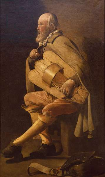 Hurdy-gurdy player with bag, by Georges de La Tour (1593-1652)