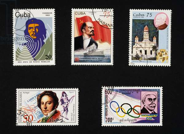 Top, postage stamps honoring Lenin, Che Guevara and Pope John Paul II's visit, Cuba, 1983, 1997, 1998, bottom left, postage stamp honoring Gioacchino Rossini, Bulgaria, 1992, bottom right, postage stamp honoring Pierre de Coubertin, Cambodia, 1994