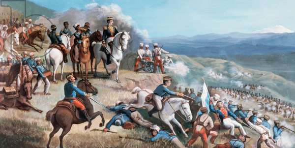Battle of Ibarra (July 17, 1823), Simon Bolivar leading rebel troops against the Spanish forces of Agustin Agualongo, fresco in Ibarra town hall, Ecuador, 19th century