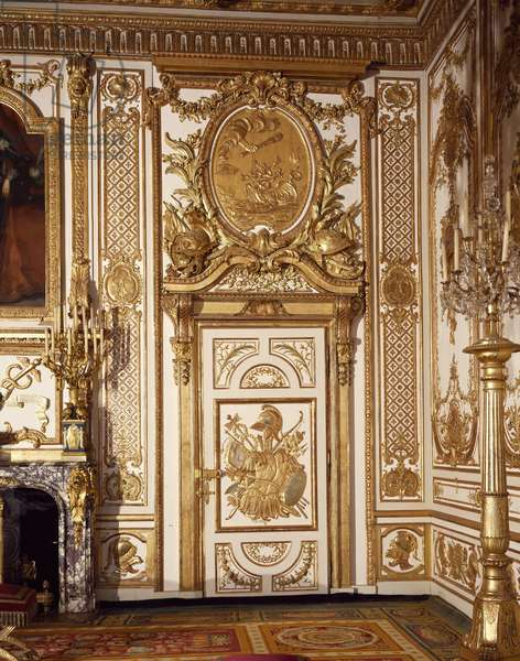 Walls of Napoleon's throne room in style of Louis XV, Chateau de Fontainebleau, France, 18th century