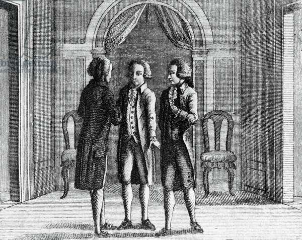 Illustration for The spendthrift miser, comedy by Carlo Goldoni (1707-1793), engraving, from Opere teatrali del sig avvocato Carlo Goldoni veneziano, published by Antonio Zatta e figli, 1789, Venice