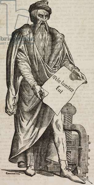 Statue of Johannes Gutenberg, work by sculptor David d'Angers, inaugurated in Strasbourg on June 24, 1840, France, illustration from Teatro universale, Raccolta enciclopedica e scenografica, No 561, April 12, 1845