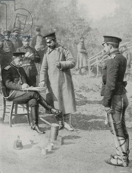 Bulgarian commander preparing orders for bombing of Adrianople (Edirne), Turkey, First Balkan War, photograph by Dimitar Karastoyanow, from L'Illustrazione Italiana, Year XL, No 6, February 9, 1913