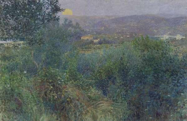 The rising moon, 1897, by Giorgio Kienerk (1869-1948), oil on canvas, 164x248 cm. Italy, 19th century.