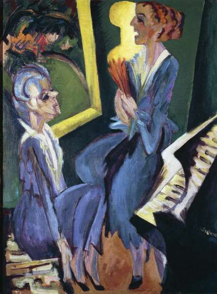 Music room, 1915, by Ernst Ludwig Kirchner (1880-1938)