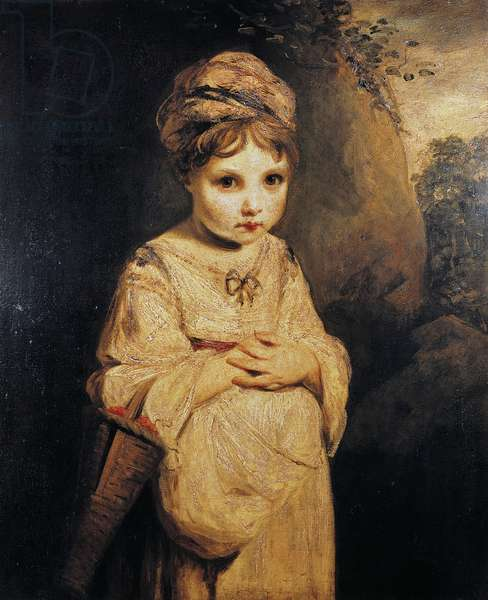 Girl with strawberries, painting by Joshua Reynolds (1723-1792), oil on canvas, 76, 6x63, 7 cm