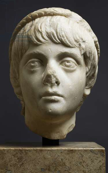 Marble head of Annius Verus, prince of family of Antonini, artifact uncovered in Hippo (Annaba), Algeria, Roman Civilization, ca 160 AD