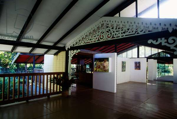 Interior of Paul Gauguin museum in Mataiea, Tahiti island, Society Islands, French Polynesia, overseas territory of French Republic